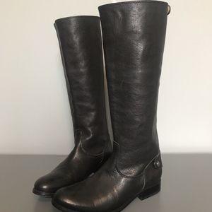 Frye Black Melissa Tab Flat Riding Boots